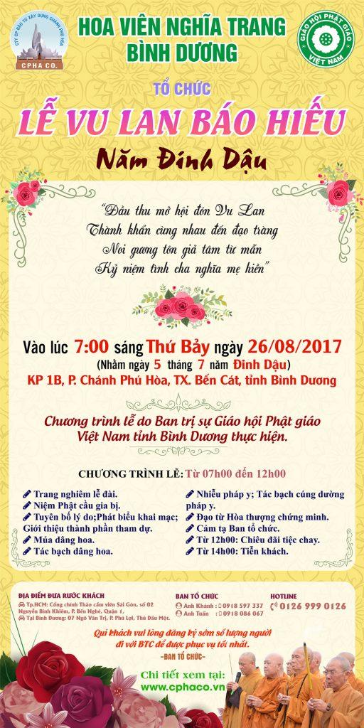 Hoa Viên nghĩa trang Bình Dương tổ chức lễ Vu lan báo hiếu năm Đinh Dậu