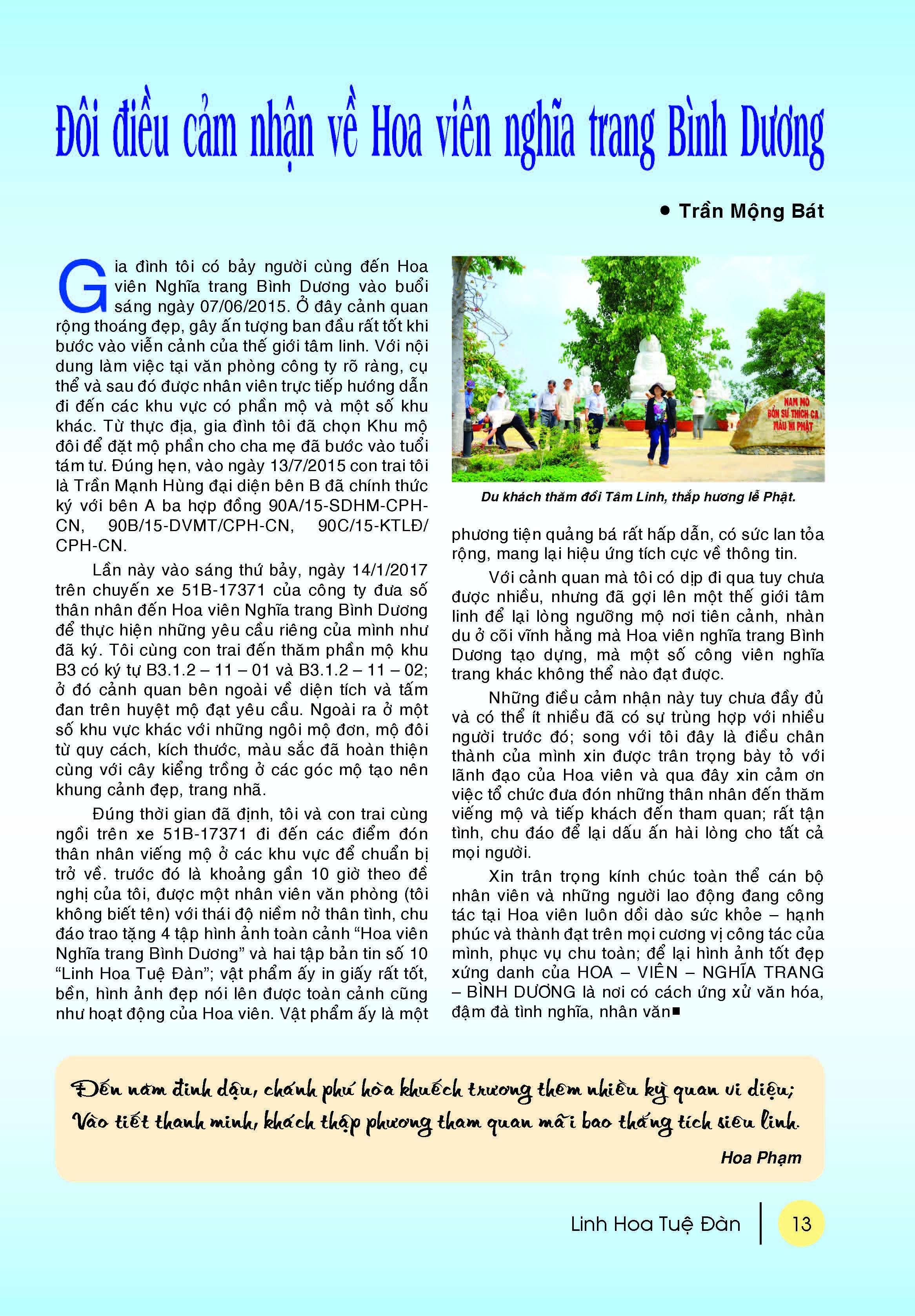 Bản tin Linh Hoa Tuệ Đàn (số 12 - 2017)