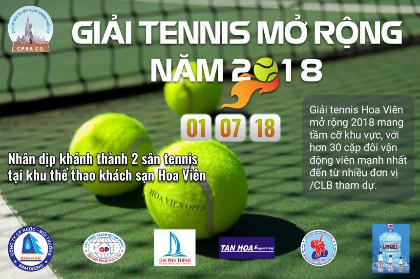 Tổ chức giải tennis Hoa Viên mở rộng năm 2018
