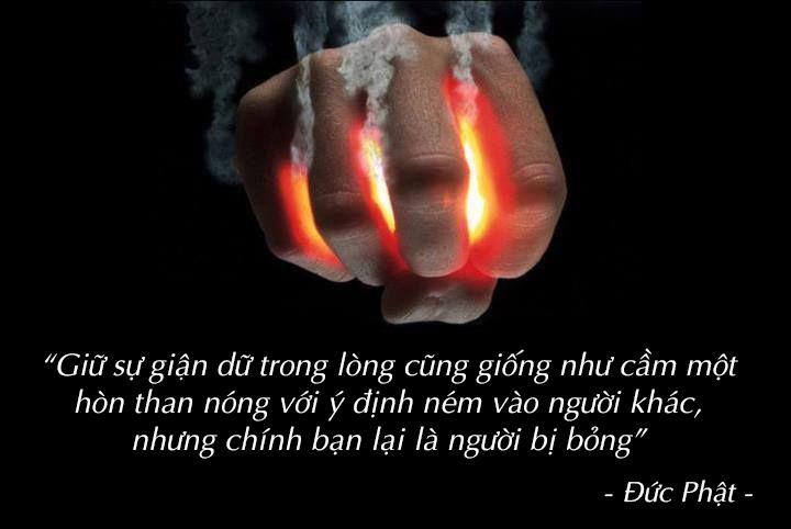 cơn nóng giận giống như việc bạn cầm than nóng ném vào người khác, trước khi làm họ bị thương thì tay bạn cũng bỏng rồi