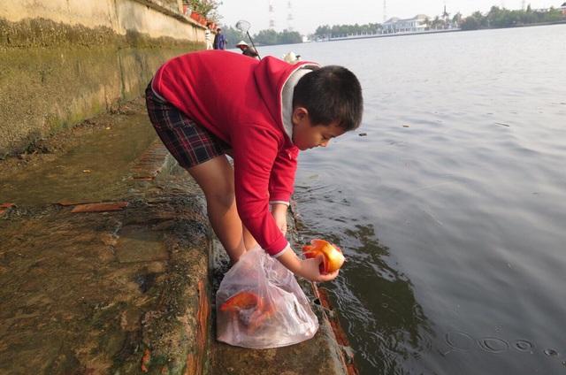 Phong tục thả cá chép đưa ông Táo về chầu trời.